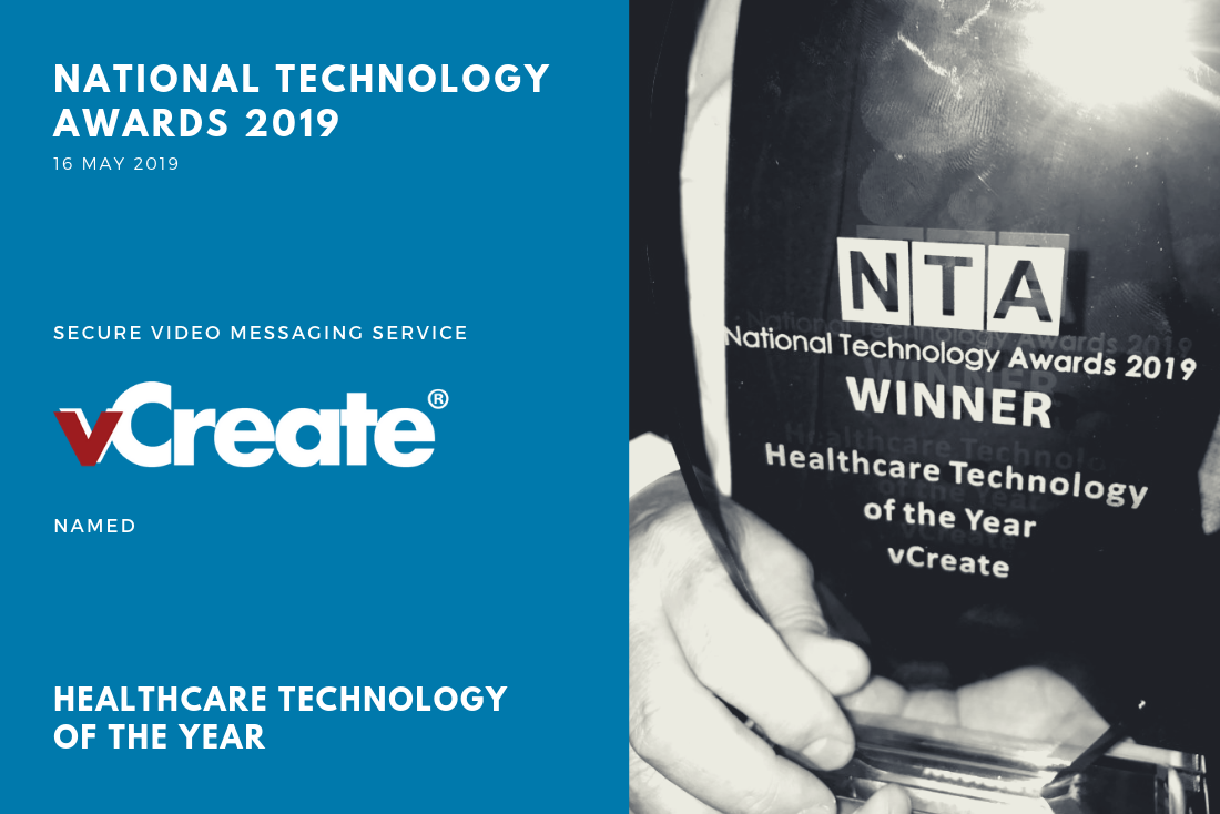 vCreate Wins Healthcare Technology of the Year at the National Technology Awards 2019