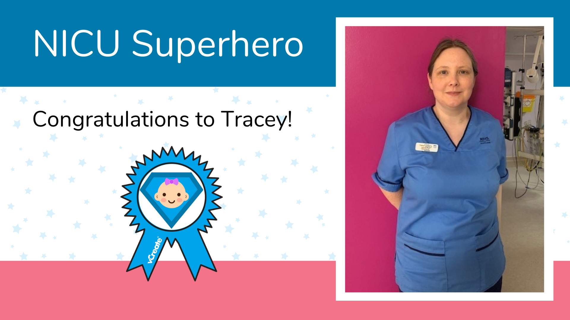 Tracey, from the Royal Alexandra Hospital in Paisley, is Samantha's NICU Superhero!